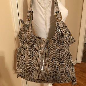 Snake print hobo bag